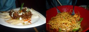 Duck Nachos and Lo Mein (w/ Fried Chicken!) from Dragon Fly