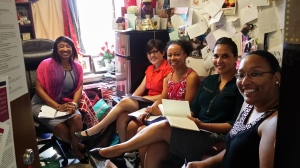 Staff meeting in my office with a subset of our group, September 2014.