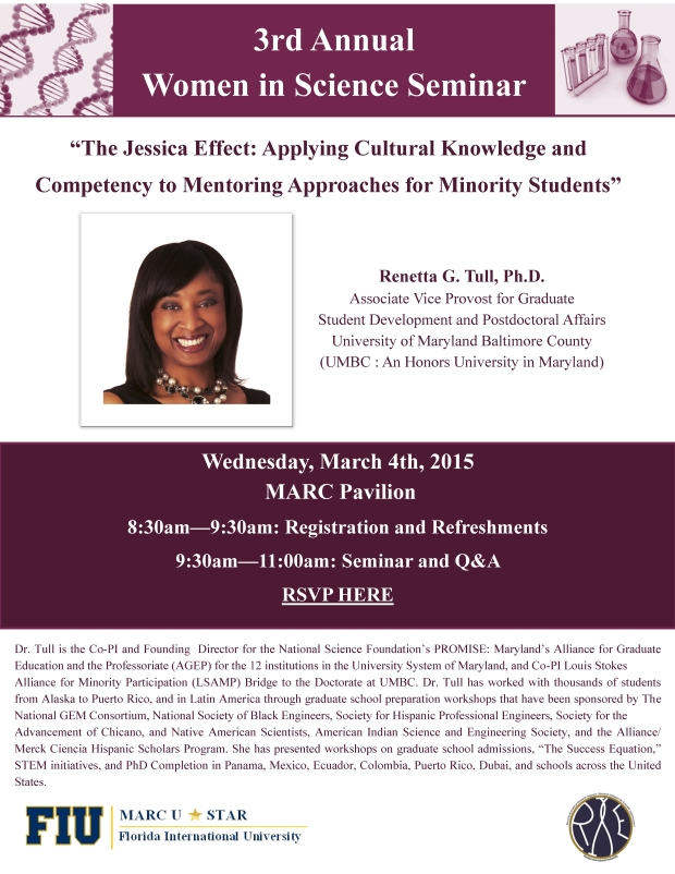 Save the Date - Women in Science Seminar with Dr. Renetta G. Tull (1)1