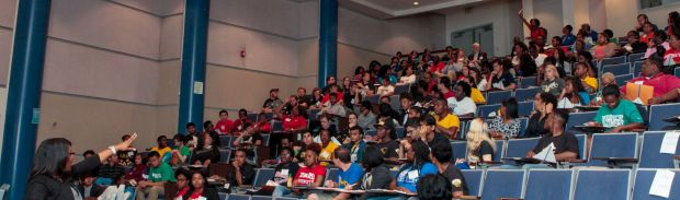 Photo taken during my lecture on applying to graduate school during the GEM GRAD Lab at UMBC, Sept. 19, 2015.