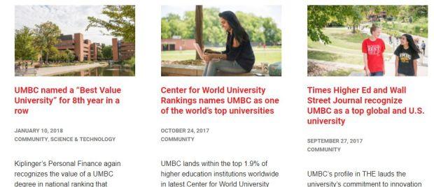 UMBC Rankings page